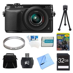 LUMIX DMC-GX7 DSLM Black Camera with 14-42 II Lens 32GB Bundle