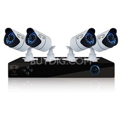 4 Channel Security System, 500GB HDD, 4 Hi-Res 900 TVL Cameras, Night Owl App