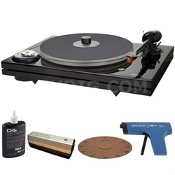 2-Speed Audiophile Black Turntable w/ Cartridge + Record Cleaner Kit