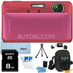 Cyber-shot DSC-TX20 16.2 MP Waterproof Shockproof Camera (Pink) 8GB Bundle