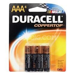 4 Pack AAA Alkaline Batteries  (Duracell CopperTop)