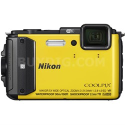 COOLPIX AW130 16MP HD Waterproof Shock-Freezeproof Yellow Digital Camera REFURB