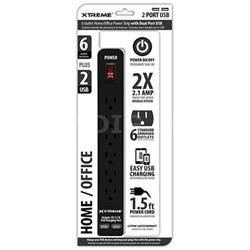 6 Outlet Home and Office Power Strip with Dual USB Ports (Black) 28631