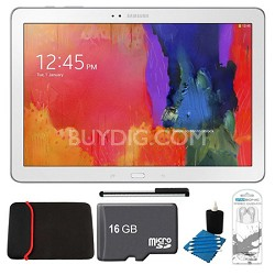 """Galaxy Tab Pro 12.2"""" White 32GB Tablet, 16GB Card, Headphones, and Case Bundle"""