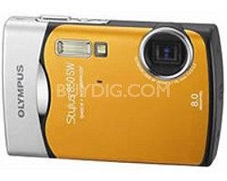 Stylus 850 SW 8MP Shockproof Waterproof Digital Camera (Orange) - REFURBISHED