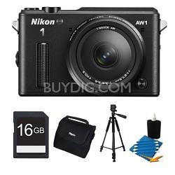 1 AW1 14.2MP Waterproof Shockproof Digital Camera w/ AW 11-27.5mm Black Kit