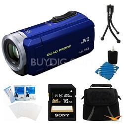 GZ-R10A Quad Proof Blue 2.5 MP HD Camcorder and 16GB Card Bundle
