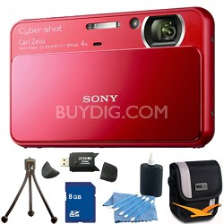 Cyber-shot DSC-T110 Red Touchscreen Digital Camera 8GB Bundle