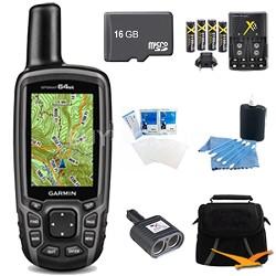 GPSMAP 64st Worldwide Handheld GPS BirdsEye Canada Maps 16GB Accessory Bundle