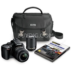 D5100 16.2MP Digital SLR w/ 18-55mm VR Lens & 55-200mm VR Lens Nikon Case, DVD