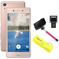 "Xperia X Performance 32GB 5"" Smartphone Unlocked Mobile Selfie Bundle, Rose Gold"