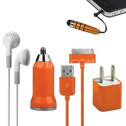 5-in-1 Travel Kit for iPhone 4/4S and 4th Generation iPods - Orange