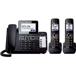 KX-TG6672B Expandable Corded Answering System with Large LCD 2 Cordless Handsets