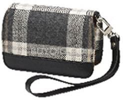 Premium Compact Leather Case (Gray Plaid)