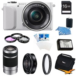NEX-3NL White Digital Camera 16-50mm Lens 16GB 55-210mm, 20mm f/2.8  Lens Bundle