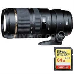 SP 70-200mm F/2.8 DI VC USD Zoom Lens For Canon EOS w/ 64GB Memory Card