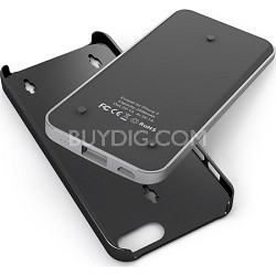 Ecopak iPhone 5 Case -Snap-on Case and Detachable Battery (Silver/Black)