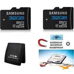 microSD High Speed 32GB Class 10 Waterproof and Shockproof Memory Card (2-Pack)