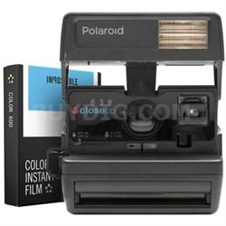 Polaroid 600 Square Camera - Black w/ Instant Lab Color Film Bundle