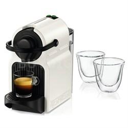 White Inissia Espresso Maker and 2 Glasses Bundle