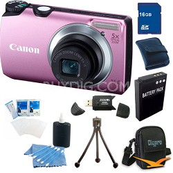 PowerShot A3300 IS 16MP Pink Digital Camera 16GB Bundle