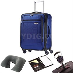 """SoLyte 20"""" Expandable Spinner Carry On Suitcase Blue 73850-1875 w/ Travel Kit"""