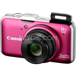PowerShot SX230 HS 12MP 14x Zoom Red Digital Camera