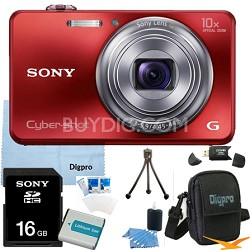 Cyber-shot DSC-WX150 18.2 MP 10x Optical HD Video Camera (Red) 16GB Bundle