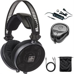 R70X Professional Open-Back Reference Headphones Black ATH-R70X w/ Mic Bundle