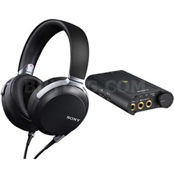 High-Resolution Professional Stereo Headphones Black w/ Sony Headphone Amplifier