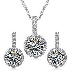 White Gold Rhodium Cubic Zirconia White Sapphire Jewelry Set