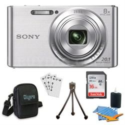 DSC-W830 Cyber-shot Silver Digital Camera 8GB Bundle