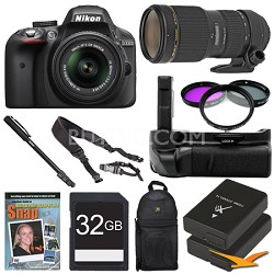 D3300 DSLR HD Black Digital Camera Wildlife Photographer Bundle