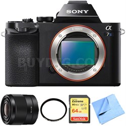 ILCE-7S/B a7S Full Frame Mirrorless Camera 28mm Prime Lens Bundle