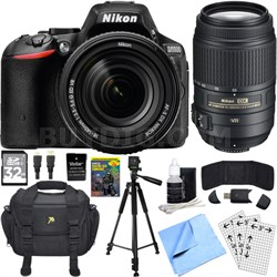 D5500 Black DSLR Camera 18-140mm Lens, 55-300 Lens, 32GB, and Battery Bundle