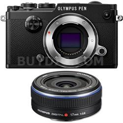 PEN-F 20MP Mirrorless Micro Four Thirds Digital Camera w/ 17mm f2.8 Lens Bundle
