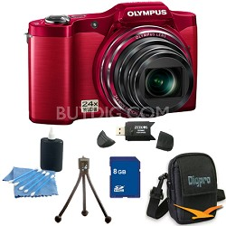 8 GB Kit SZ-12 14MP 3.0 LCD 24x Opt Zoom Digital Camera - Red
