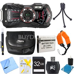 WG-30 16 MP Waterproof Digital Camera with 3-Inch LCD Ebony Black 32GB Bundle