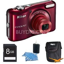 COOLPIX L28 20.1 MP 5x Zoom Digital Camera - Red Plus 8GB Memory Kit