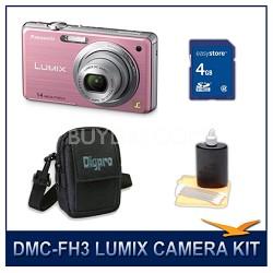 DMC-FH3P LUMIX 14.1 MP Digital Camera (Pink), 4GB SD Card, and Camera Case