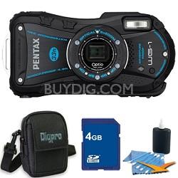 Optio WG-1 Waterproof Digital Camera - Black 4 GB Bundle