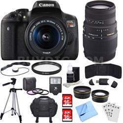 EOS Rebel T6i Digital SLR Camera w/EF-S 18-55mm + 70-300mm Telephoto Lens Bundle