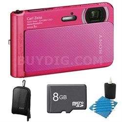 DSC-TX30/B Pink Digital Camera 8GB Bundle