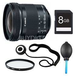 EF-S 10-18mm F4.5-5.6 IS STM Lens, Filter, and 8GB Bundle