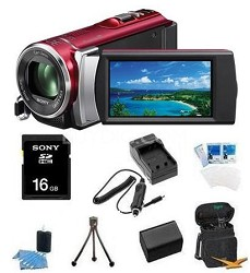 HDR-CX210 HD Camcorder 8GB Camcorder w/ 25x Optical Zoom (Red) Bundle