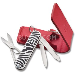 Fashion Classics Zebra Classic SD Knife with Red Leather Mirror Pouch