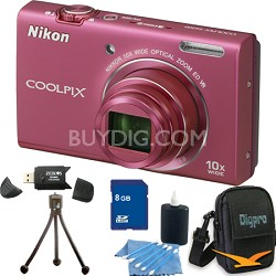 COOLPIX S6200 Pink 10x Zoom 16MP Camera 8GB Bundle