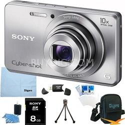 Cyber-shot DSC-W690 16MP 10X Zoom 720p Video Digital Camera (Silver) 8GB Bundle