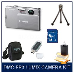DMC-FP3S LUMIX 14.1 MP Digital Camera (Silver), 8GB SD Card, and Camera Case