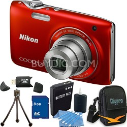 COOLPIX S3100 14MP Red Compact Digital Camera 8GB Bundle